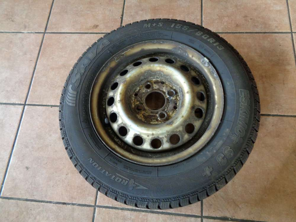 1X Stahlfelgen mit reifen Sava Eskimo S2 für Seat Ibiza 155/80 R13 79T M+S /5Jx13 H2 ET38  Winterreifen